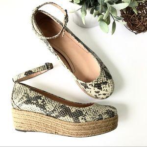 NICOLE Gusty Snake Print Platform Espadrille Shoes